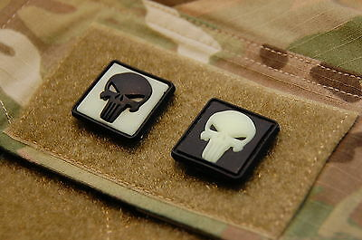 2 x Glow-In-The-Dark Punisher Skull PVC Patches Hook & Loop Backing