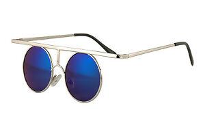 Cyber-Steampunk-Top-Bar-Round-Blue-Mirror-Lens-Silver-Hippie-Sun-Glasses-261SD