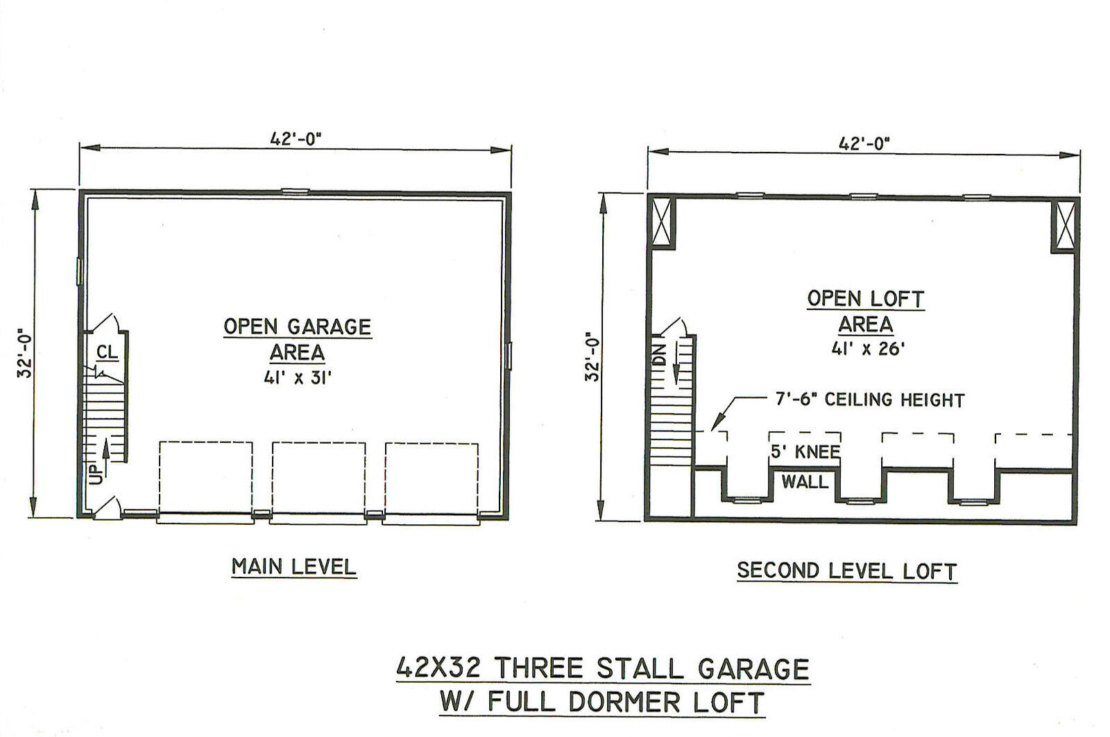 42 x 32 3 car td garage with dormered lft building for Garage sn autos 42