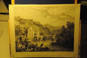 1828-STAMPA-ANTICA-LITOGRAFIA-LES-ARTISTES-EN-CAMPAGNE
