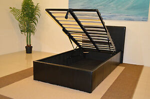 STORAGE OTTOMAN GAS LIFT UP BED FRAME WITH MATTRESS CHOICE BLACK BROWN WHITE