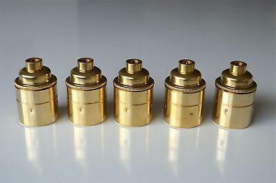 A set of 5 British made brass Edison ES E27 light bulb holder with 10mm entry E1