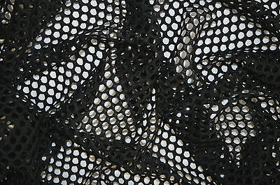 BLACK FISH NET AIRTEX MESH FABRIC POLYESTER STRETCH MATERIAL 3 TO 4 MM HOLES  Mesh 3