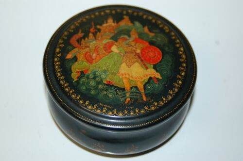 "Vintage Hand Painted Chinese Round Box Marked 3"" diameter"