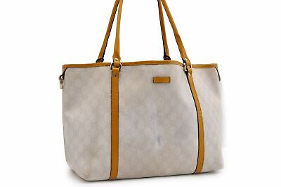 Authentic GUCCI Shoulder Tote Bag PVC Leather White Yellow 91147