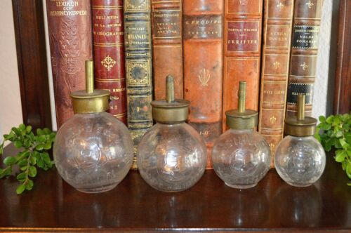 Antique Set 4 French Glass Oil Bottles Grease Oilers Lubricators A Michaux Paris