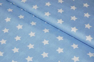 Qualität Baumwolle Stoff (Stoff Baumwolle hellblau blau Sterne weiß Qualität)