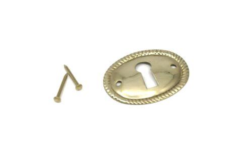 "1 1/2"" Keyhole Cover Plate Escutcheon Furniture Brass Key Hole Lock Plate"