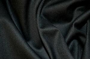 BLACK STRETCH COTTON TWILL 98% COTTON 2% ELASTANE FABRIC 58