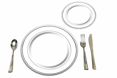 25 Heavyweight Elegant Plastic Disposable Place Settings: 25 Dinner Plates, 2...](Silver Plastic Dinner Plates)