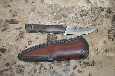 "7.25"" knife Fiddleback Forge by AR Andy Roy Green liners RLO Leather sheath wood"