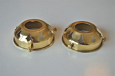 PAIR CLASSIC ANTIQUE BRASS GLASS LIGHT SHADE GALLERY 2 1/4 INCH LAMP SHADE NR2