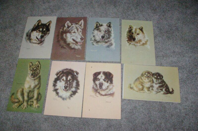 8 Menus Alaska  Lines SS Yukon Star Husky Dogs Sled Dogs Josephine Crumrine