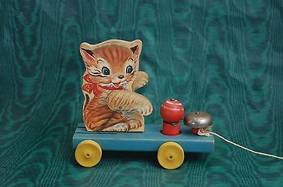 Vintage 1950 Fisher Price #499 Kitty Bell Wooden Pull Toy Rare