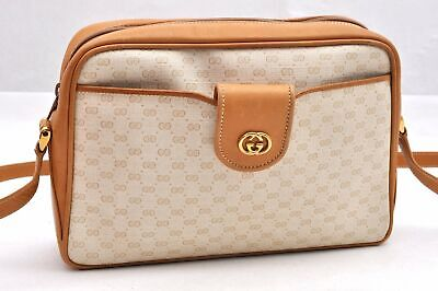 Authentic GUCCI Micro GG PVC Leather Shoulder Bag Beige 97114
