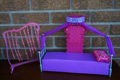 BARBIE Furniture Bed Room Doll House Canopy Purple Pink Hang Bead Glam Set Lot
