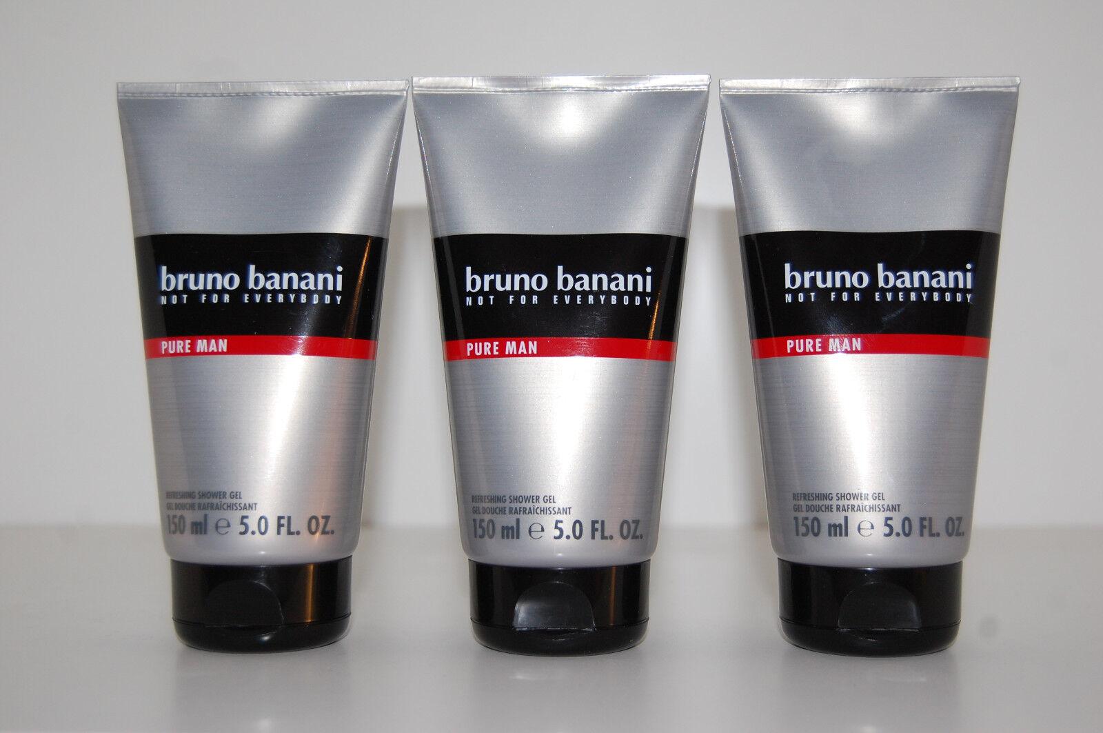 (55,53€/L) Bruno Banani Pure Man 3 x 150 ml Shower Gel Duschgel Sparset
