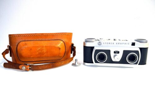 Vintage Graflex Stereo Graphic 3D Camera With Original Leather Case F/4 35MM