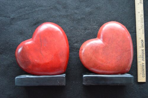 Vintage Pair Valentine Heart Solid Bookends