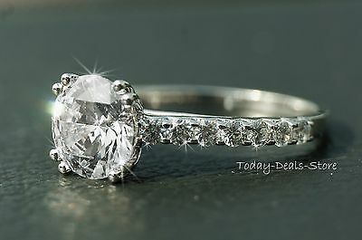 2.42 CTW ROUND CUT  ENGAGEMENT RING VVS1/ D 14k WHITE GOLD REAL