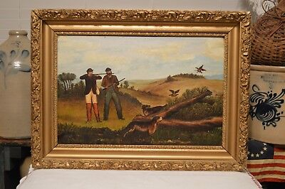 Antique 1883 Pheasant Quail Hunting w/ Dogs Oil On Board Painting Rich Color  for sale  Indianapolis