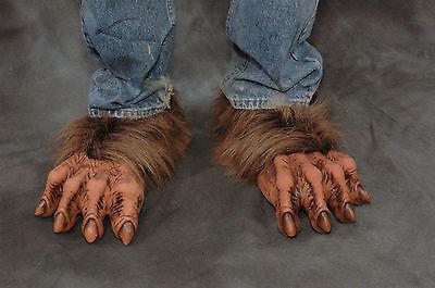 Brown Werewolf Beast Wolf Man Feet Adult Shoe Covers Latex Halloween Costume - Wolf Feet