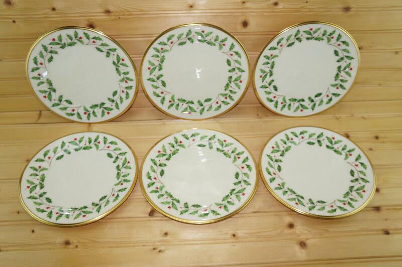 "Lenox Holiday- (6) Salad Plates, 8 1/8"" -Made in USA"