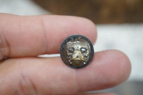 """Antique 3D Picture Button Bull Dog Cut Steel Revet Eyes Aprx: 1/2"""" Diameter"""