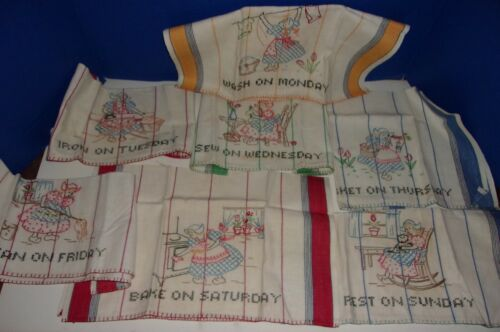 7 Vintage Embroidered Days of The Week Kitchen Towels Dutch Girl Chores