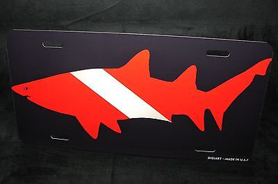 Scuba Diver Silhouette (SCUBA DIVE FLAG LICENSE PLATE FOR CARS WITH SHARK SILHOUETTE METAL DIVER)