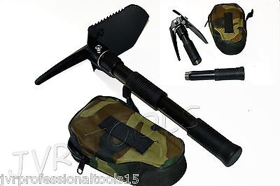 Camping Mini Tool Black Folding Shovel Pick Axe Collapsible Spade Entrenching