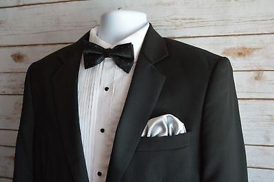 Mens Silk Pocket Square 100% Italian Silk Puff Brand New Free Shipping Grey