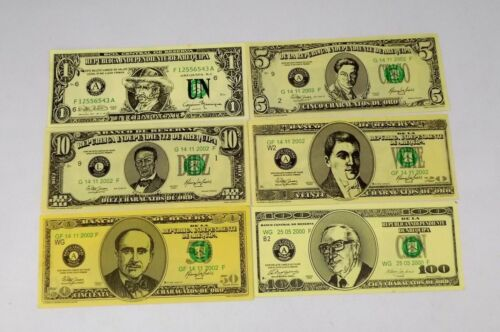SET 6 FANTASY  BANK NOTES OF CHARACATO ORO AREQUIPA PERU 1 - 100 CHARACATOS T-7