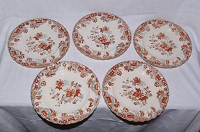 "5 x Antique 8.75"" Dessert Plates Copeland Pattern 2 1109 Indian Tree 1879"