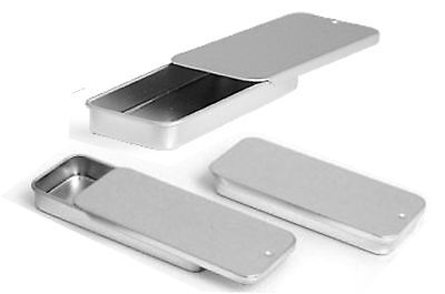 Metal Slide Top Tin Containers for Crafts Geocache Storage Survival Kit (3 pack)