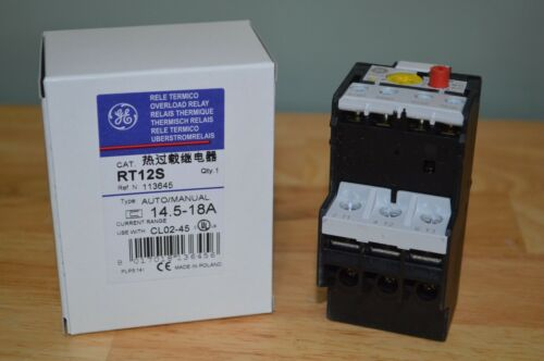 Brand New GENERAL ELECTRIC RT12S Overload Relay, Class 20, 14.5 to 18A