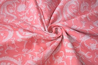 5 Yard Indian Fabric Hand Block Print Mud Cloth Pink Paisley Cotton Craft By