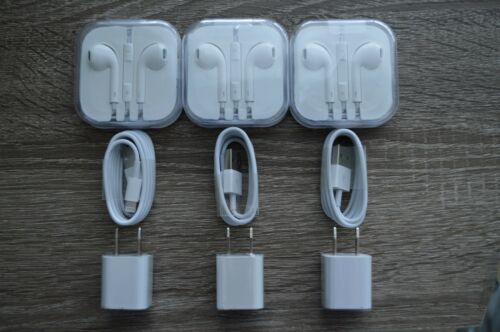 set of 3 iPhone 5,6,7,S,SE   Charger + Adapter USB Cable  And Headphone