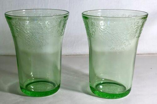 "2 Hazel Atlas Green Florentine No.2 4"" 9 oz. Water Tumblers"