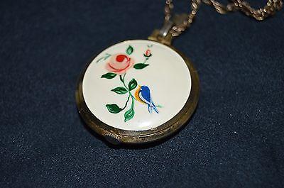 Vtg ARNEX Necklace PENDANT SWISS Made Watch White Flower Enamel DESIGN Beautiful