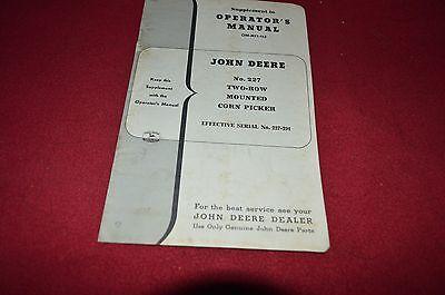 John Deere No. 227 Corn Picker Supplement Operator's Manual DCPA3