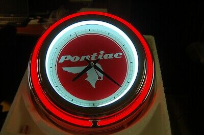Vintage Pontiac Logo Double Neon Wall Clock Great For Garage Man Cave