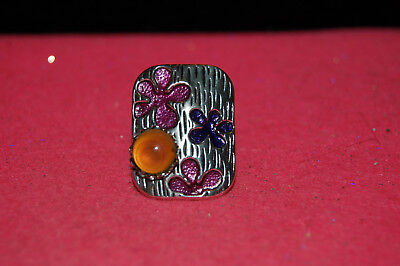 Mood Ring,10mm Stone, Sterling Silver Plated, Flower Motif #A4H5 Mood Stone Rings