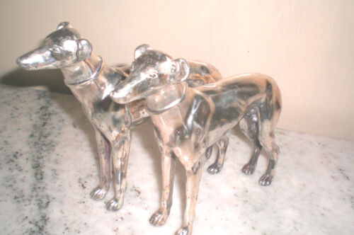 PAIR 1920 SILVERPLATED WHIPPET / GREYHOUND FIGURINES
