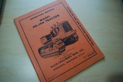 Allis Chalmers Hd-19h Tractor Crawler Dozer Owner Operator Operation Manual Book