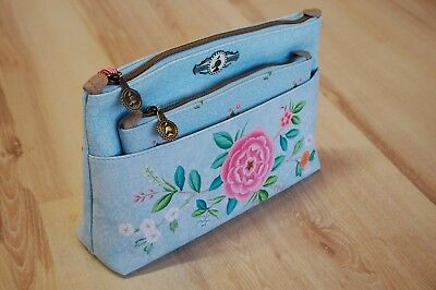 PIP Studio Cosmetic Bag Combi Floral Blue blau 2-Teilig 26x18x7,5 cm 22x13x1  cm ()