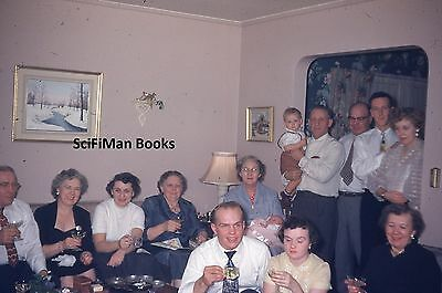 KODACHROME Red Border 35mm Slide Men Women Child Party Drinking Fashion 1950s!!!