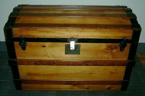 1880s  Antique Steamer Trunk Flat Top Refinished Chest Trunk W/Tray Lock & Key
