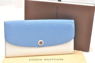 Auth Louis Vuitton Epi Leather Portefeuille Emilie Wallet White Blue LV 58165