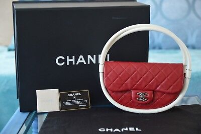 CHANEL RED LAMBSKIN SMALL HULA HOOP FLAP BAG LIMITED EDITION